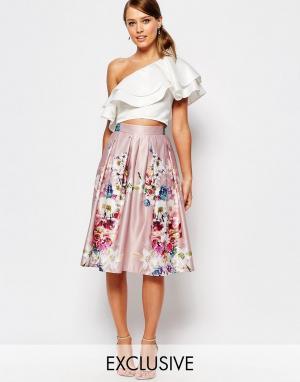 True Violet Атласная юбка миди с цветочным принтом. Цвет: мульти