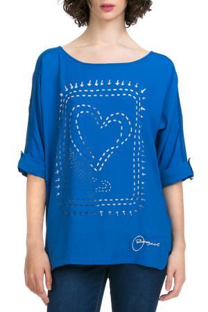 Блуза Desigual. Цвет: голубой