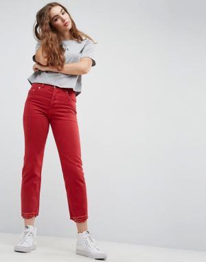 ASOS Красные прямые джинсы с необработанным краем FLORENCE. Цвет: красный