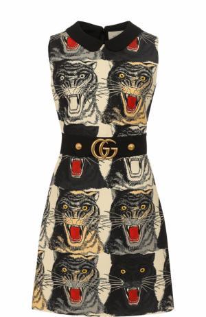 Приталенное платье-миди с принтом Gucci. Цвет: бежевый