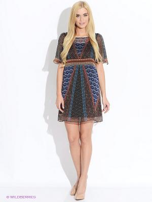 Платье Motivi. Цвет: синий, коричневый, белый
