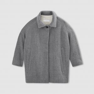 Пальто короткое POMANDERE. Цвет: серый