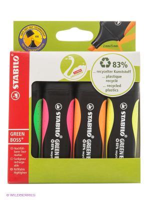 Набор маркеров, 4 цв. Stabilo. Цвет: зеленый, оранжевый, розовый, желтый