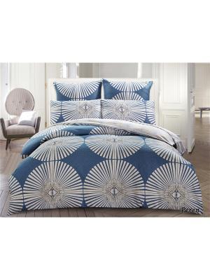 Комплект постельного белья 1,5сп 70*70, сатин Jardin. Цвет: синий, белый, голубой