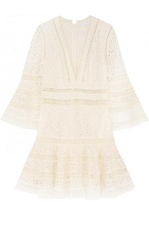 Приталенное кружевное мини-платье Zimmermann. Цвет: кремовый
