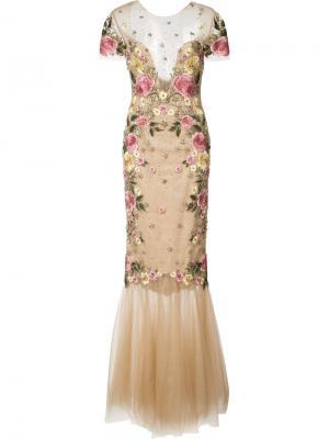 Приталенное платье с цветочной вышивкой Marchesa Notte. Цвет: телесный