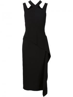 Платье с перекрещивающимися лямками спереди Roland Mouret. Цвет: чёрный