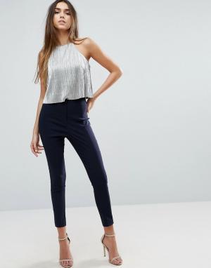 ASOS Облегающие брюки с завышенной талией. Цвет: темно-синий