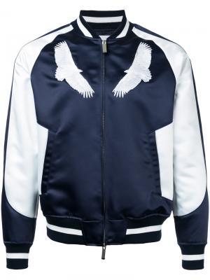 Бейсбольная куртка с вышивкой орла Yoshio Kubo. Цвет: синий