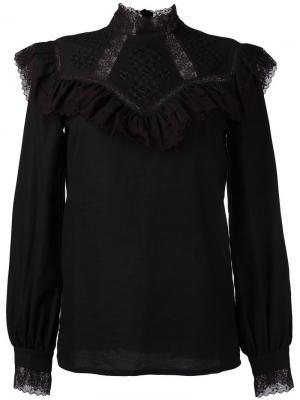 Блузка с оборками Vilshenko. Цвет: чёрный