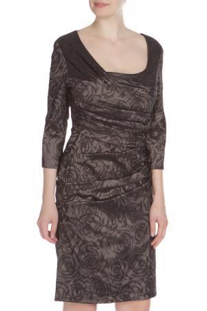 Приталенное платье со складками Vera Mont. Цвет: черно-бронзовый