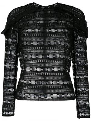 Блузка с оборками Self-Portrait. Цвет: чёрный