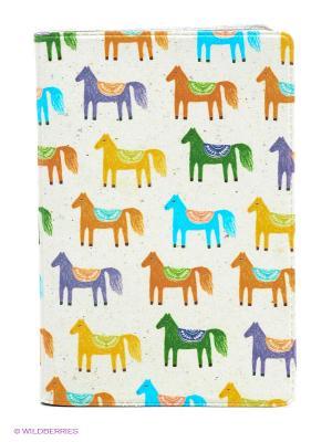Визитница Цирковые лошади Mitya Veselkov. Цвет: молочный, красный, желтый, зеленый