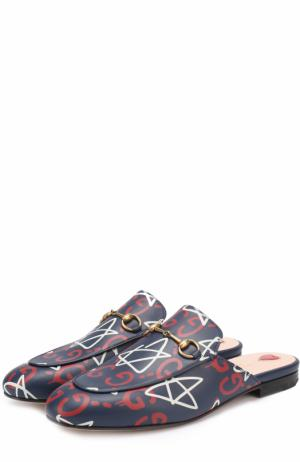 Кожаные сабо Princetown с принтом Gucci. Цвет: темно-синий