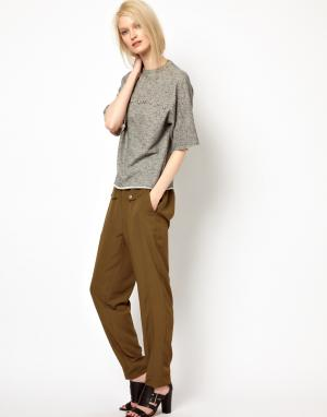 Легкие брюки в стиле джинсов BACK by Ann-Sofie Ann Sofie. Цвет: армейский