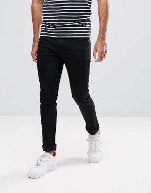 LDN DNM Черные супероблегающие джинсы стретч. Цвет: черный
