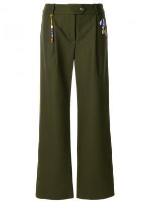 Широкие брюки Mira Mikati. Цвет: зелёный