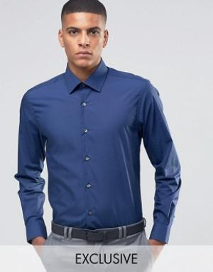 Number Eight Savile Row Зауженная рубашка в строгом стиле. Цвет: темно-синий
