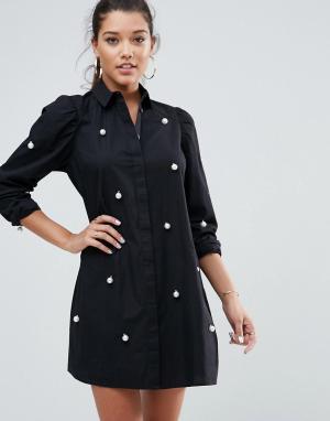 ASOS Хлопковое платье-рубашка мини с искусственным жемчугом. Цвет: белый