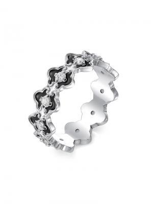 Кольцо из коллекции Гжель KU&KU. Цвет: черный, белый, серебристый