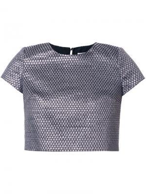 Укороченная футболка Ingie Paris. Цвет: металлический