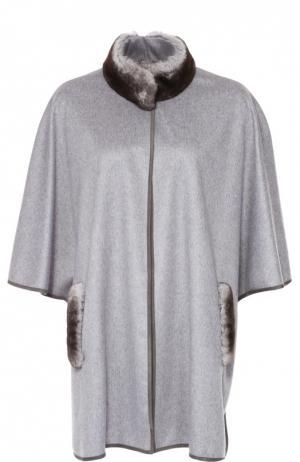 Кашемировое пальто с укороченным рукавом и меховой отделкой Colombo. Цвет: серый