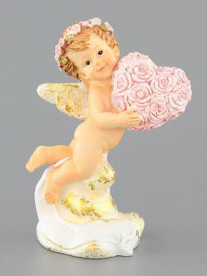 Фигурка  Ангелочек с сердечком Elan Gallery. Цвет: бежевый, розовый
