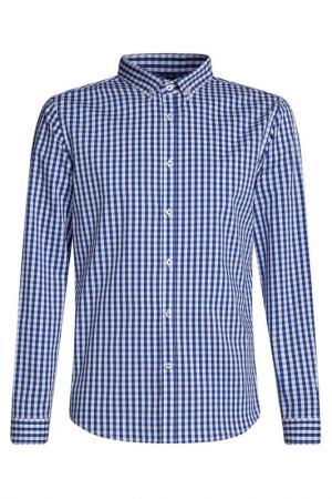 Рубашка oodji. Цвет: белый, синий, клетка