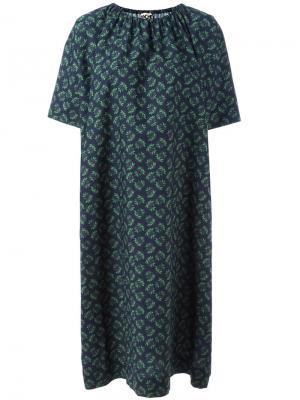 Платье шифт со сборками у горловины Hache. Цвет: зелёный