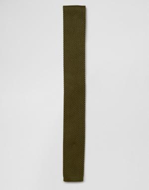 7X Вязаный галстук цвета хаки. Цвет: зеленый
