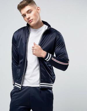 Brave Soul Спортивная куртка на молнии в винтажном стиле. Цвет: темно-синий