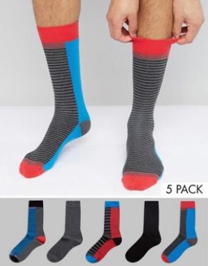 Urban Eccentric Набор из 5 пар носков в полоску. Цвет: мульти