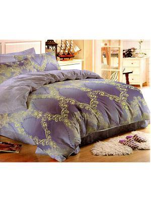 Комплект постельного белья Tencel lux, евро. La Pastel. Цвет: синий, золотистый