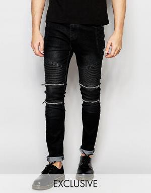 Liquor N Poker Байкерские джинсы скинни черного цвета. Цвет: черный