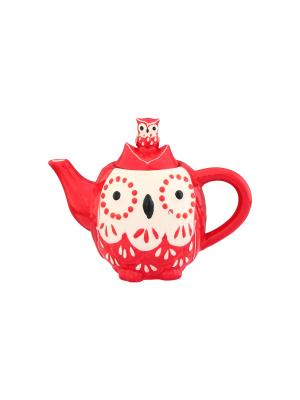 Чайник Сова красная Elan Gallery. Цвет: красный