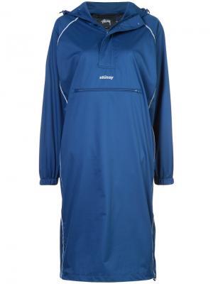 Платье-ветровка Stussy. Цвет: синий