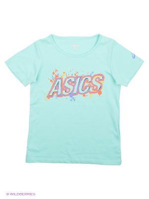 Футболка TR LOGO SS ASICS. Цвет: бирюзовый, голубой