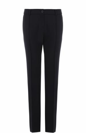 Шерстяные брюки прямого кроя со стрелками Windsor. Цвет: темно-синий