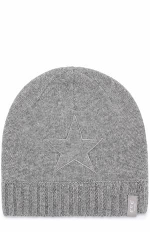 Кашемировая шапка с аппликацией FTC. Цвет: серый