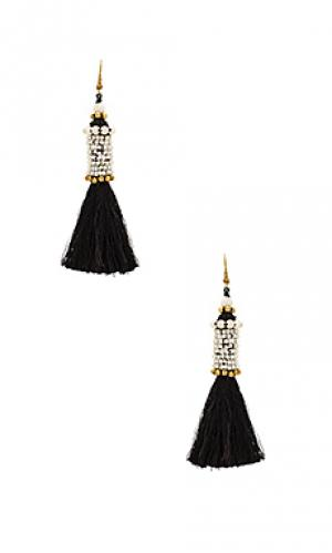 Цилиндрические серьги с кисточками kata Natalie B Jewelry. Цвет: black & white