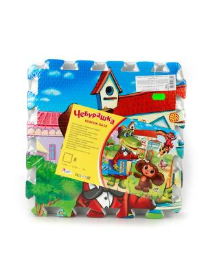 Коврик-пазл Играем Вместе Чебурашка 8 сегментов (31.5*31.5 см). Цвет: синий, зеленый, коричневый, красный