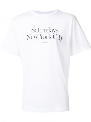 Logo print T-shirt Saturdays Surf Nyc. Цвет: белый