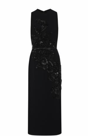 Платье-миди с декоративной вышивкой и поясом Elie Saab. Цвет: черный