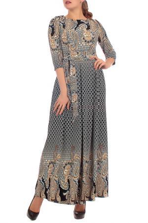 Длинное платье с узорами Lamiavita. Цвет: темно-синий, бежевый