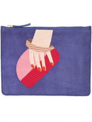 Клатч с вышивкой руки Lizzie Fortunato Jewels. Цвет: синий
