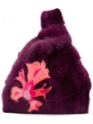 Сумка-тоут Furrissima FE Simonetta Ravizza. Цвет: розовый и фиолетовый