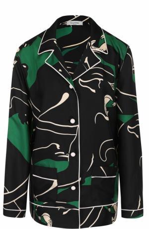 Шелковая блуза в пижамном стиле Valentino. Цвет: зеленый