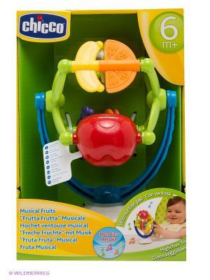 Игрушка для стульчика Музыкальные фрукты CHICCO. Цвет: салатовый, красный, желтый, синий
