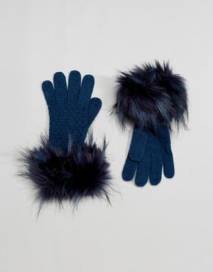 Alice Hannah Перчатки с декоративной строчкой. Цвет: темно-синий