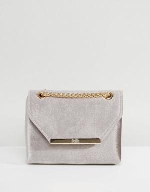 Faith Бархатная сумка через плечо. Цвет: серый